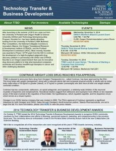 Transfer Newsletter Tech Transfer Newsletter Fall 2014 Ohsu Research News