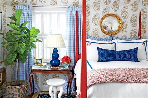 navy and red bedroom all american beautiful blue bedrooms southern living