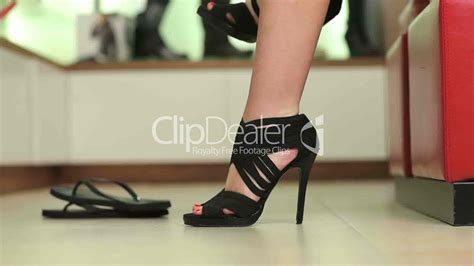 high heel shopping trying on shoes royalty free and stock footage