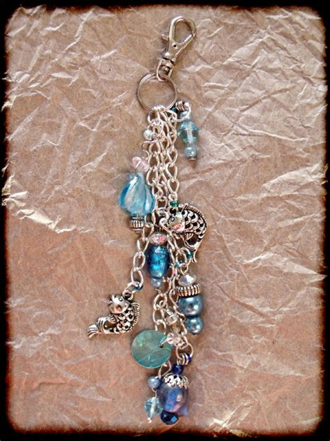 Handmade Bag Charms - blue silver beaded fish bag charm jewellery bag