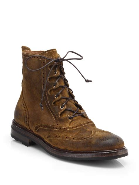 distressed boots lyst ralph macomb distressed leather boots in