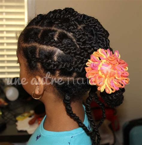 kids plaits updo with ghana plaits