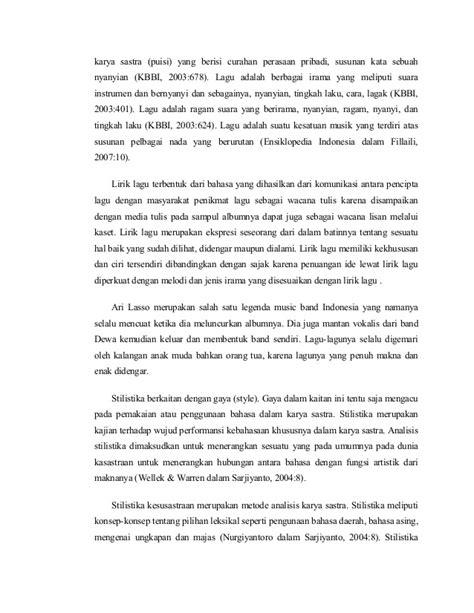 Buku Kepribadian Karya La gaya bahasa dalam lirik lagu