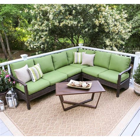 wicker outdoor sectional hton bay maldives brown wicker patio sectional set with