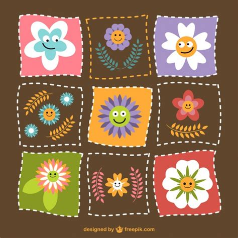 Patchwork Flowers - flowers patchwork vector free