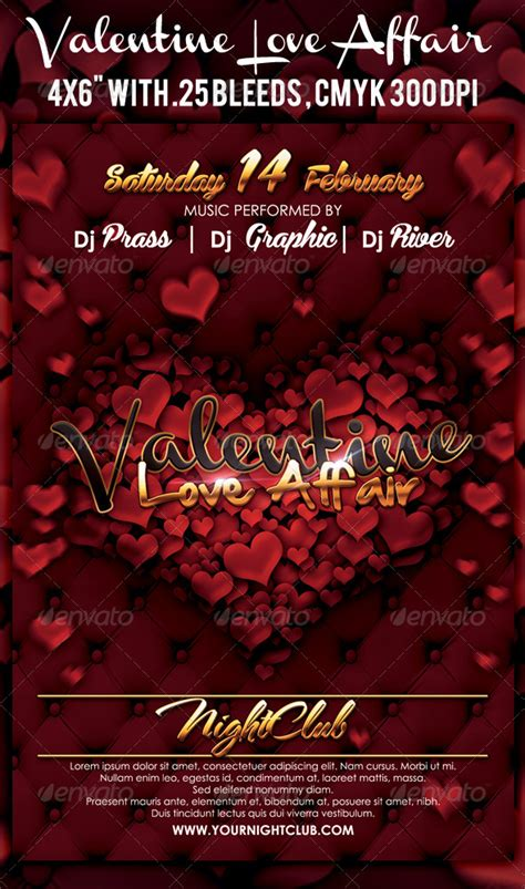 valentines flyer templates free affair flyer template by prassetyo on