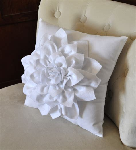 Felt Flower Pillow by Dahlia Felt Flower On White Pillow Flower