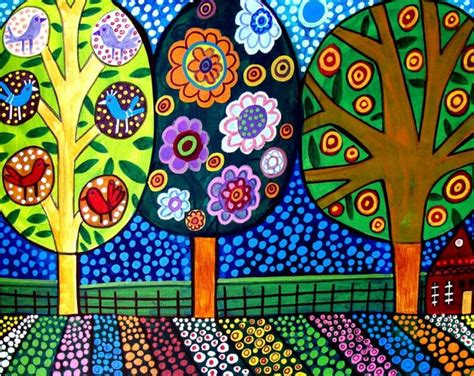 pattern landscape art today landscape art tree art folk art art print