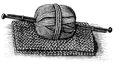 knitting clip black and white graphics vintage knitting clipart