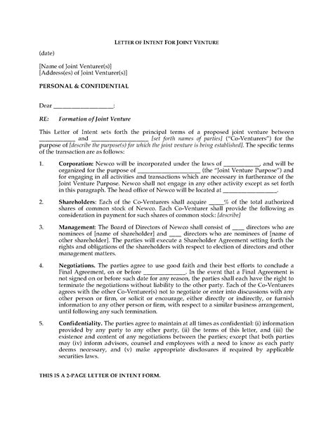 Letter For Joint Venture Sle Letter Of Intent To Form Joint Venture Forms And Business Templates Megadox