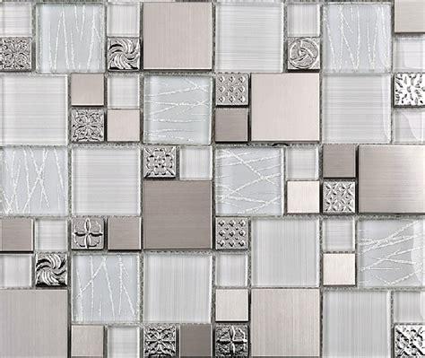 Modern Bathroom Mosaic Tile Stainless Steel Tile Glass Tiles Glass Mosaic Bathroom