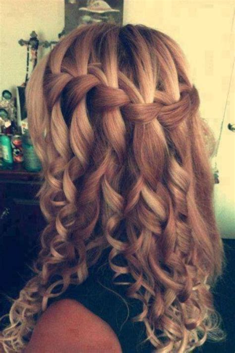 curly hairstyles plait love how it s a casual waterfall braid turned into a fancy