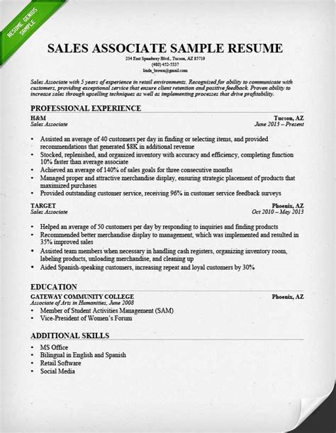 best cv sles for experienced retail sales associate resume ingyenoltoztetosjatekok
