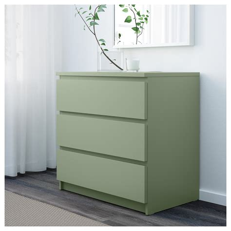 malm chest of 3 drawers light green 80x78 cm