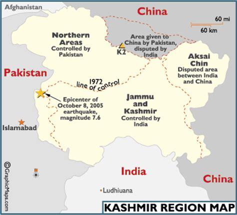 kashmir region map, landforms of kashmir, jammu and