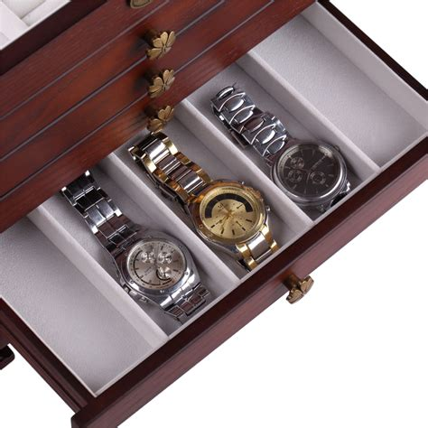 watch armoire wooden jewelry box case armoire cabinet ring watch storage
