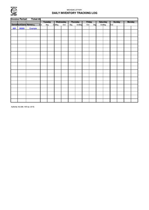 daily inventory tracking log sheet printable