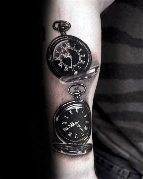 tattoo 3d watch realistic 3d pocket watches mens roman numeral forearm