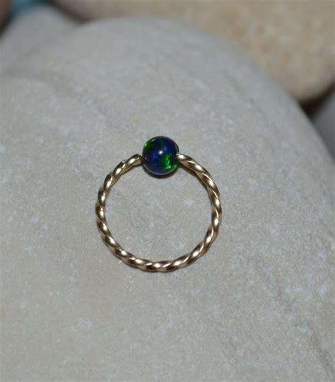 captive bead nose hoop 3mm opal tragus earring gold nose ring hoop captive bead