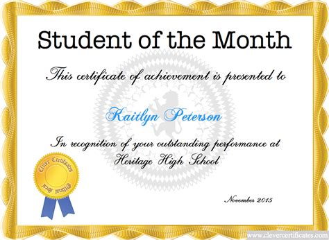 student of the month certificate templates free certificate template certificate design