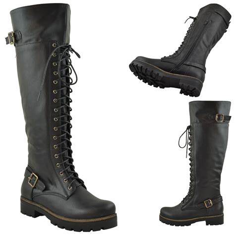 womens the knee buckle lace up combat boots black