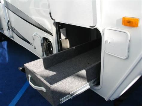 boat trailer undercarriage rv storage ideas custom made pull out storage box on