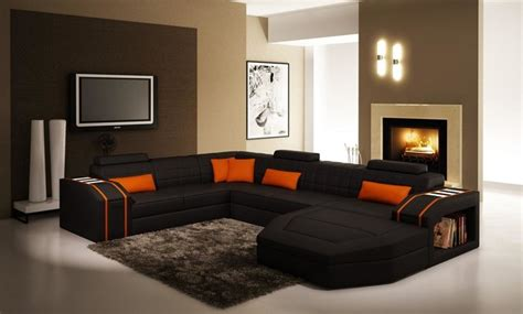 sofa set contemporary living room los angeles by black and orange sectional sofa with chaise modern