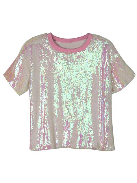 Sleeve Detail T Shirt pink sequin detail sleeve t shirt choies