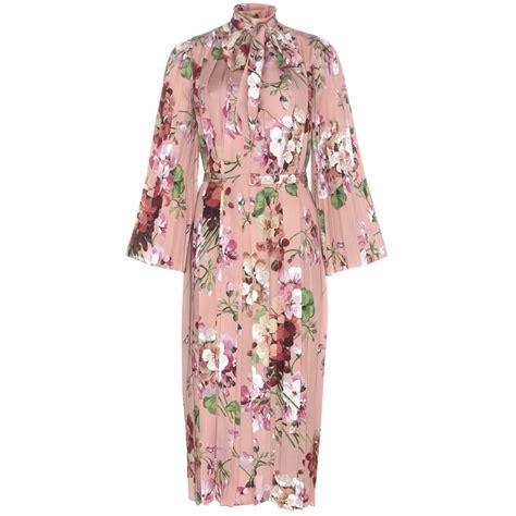 lyst gucci floral printed silk dress