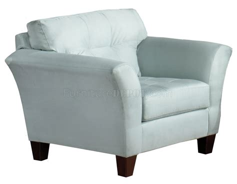 Light Blue Fabric Modern Sofa Loveseat Set W Wood Legs