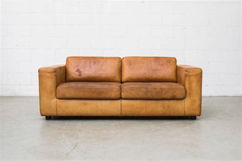leather two cushion sofa by durlet at 1stdibs