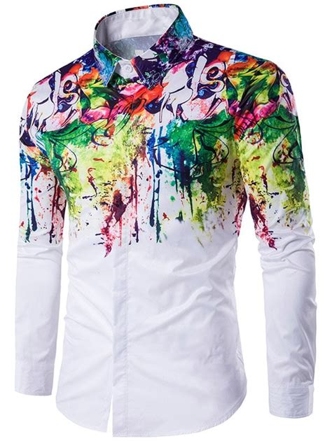 colorful shirts turndown collar colorful scrawl splatter paint sleeve