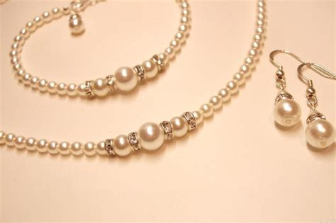 Handmade Bridal Jewellery Uk - handmade pearl and diamante necklace bracelet and earrings