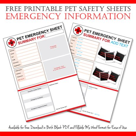 emergency pet ionfo card template dalmatian diy free emergency pet information sheet printables