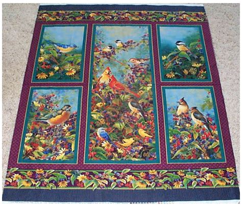 birds garden wings fruit quilt top panel fabric flowers