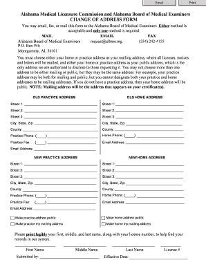 Alabama Address Lookup Alabama License Change Of Address Fill Printable Fillable Blank