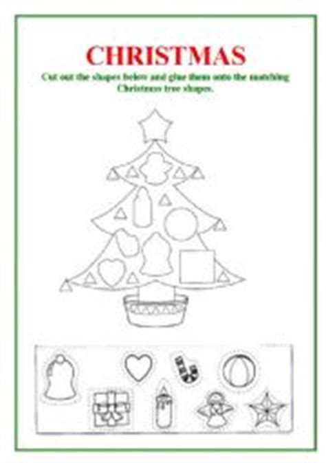 english worksheet shapes christmas tree