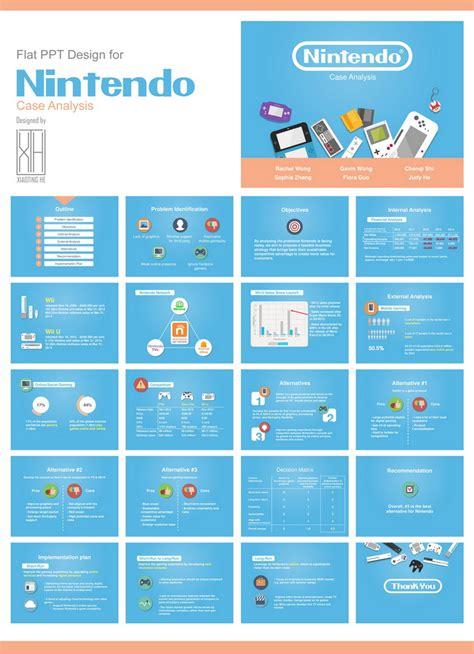 flat design powerpoint presentation flat ppt design for nintendo case analysis by plutoho on