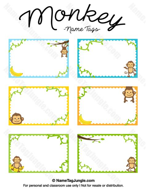 printable zoo animal name tags free printable monkey name tags the template can also be