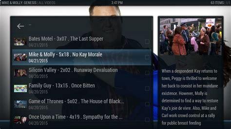 kodi display new episodes streaming media with kodi xbmc genesis and trakt tv