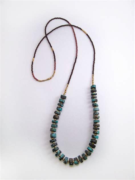 turquoise seed bead necklace rustic heishi turquoise boho necklace unisex brass
