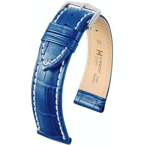 Gunny Calf Leather 28mm 1 hirsch modena calfskin watchband alligatorgrain blue