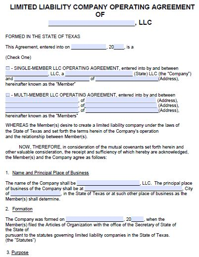 free texas llc operating agreement template pdf word