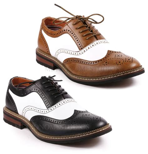 metrocharm s two tone perforated wing tip lace up fashion oxford dress shoes ebay