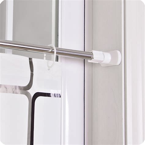 shower curtain rod tension extendable stainless steel adjustable tension door