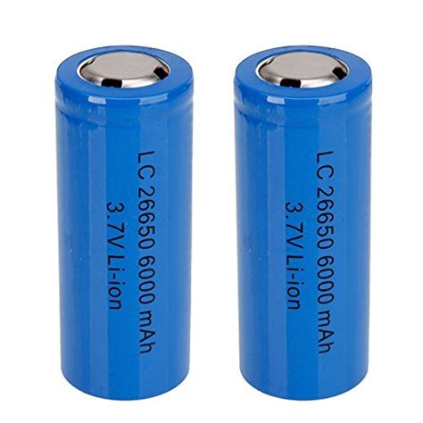 mini butterball rechargeable 26650 battery 2pcs 3 7v 6000mah protected li ion blue batteries for