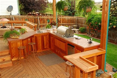 Redwood Cabinets Kitchen Homeofficedecoration Outdoor Kitchen On Deck