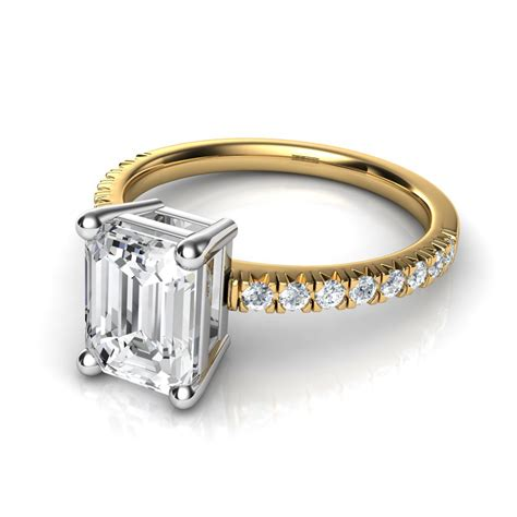 French Cut Pave Emerald Cut Diamond Engagement Ring