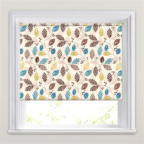 teal patterned roller blind luxury brown beige lime green teal leafs patterned