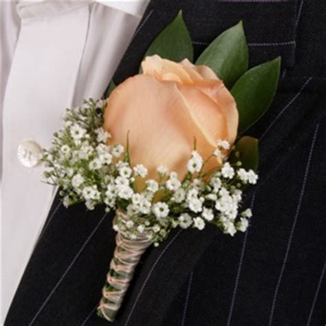 classic rose peach boutonniere  corsage wedding package